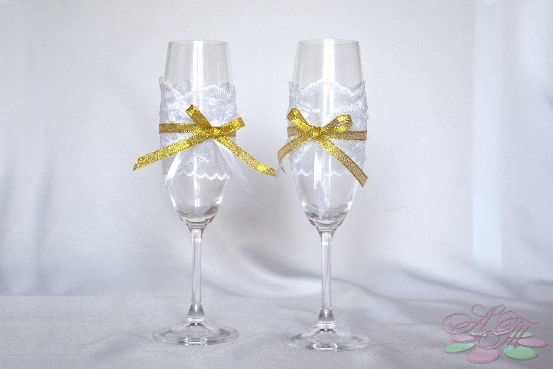 Украшение свадебных бокалов своими руками: 100 мастер классов 34